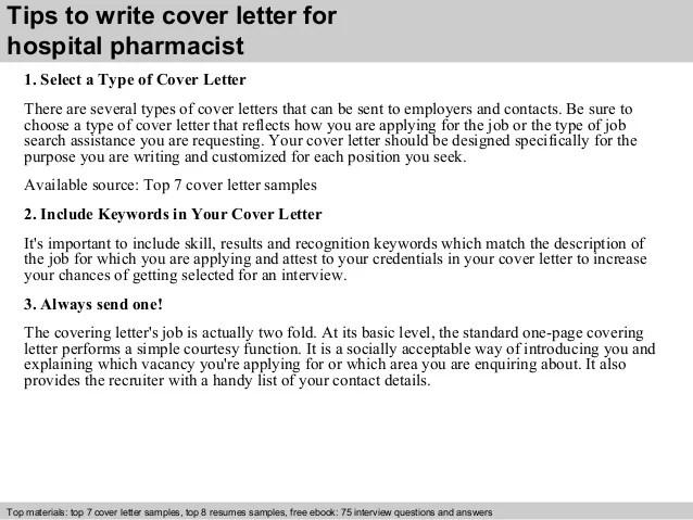 Cover Letter For Pharmacist Resume