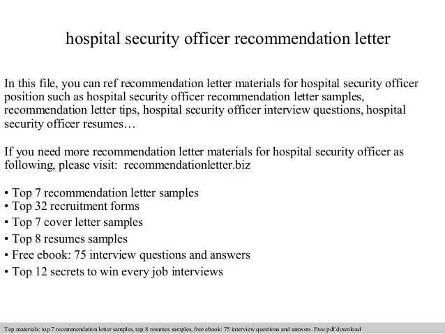 Hospital Security Officer Recommendation Letter