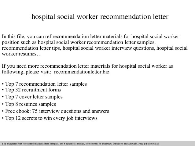 Hospital Social Worker Recommendation Letter