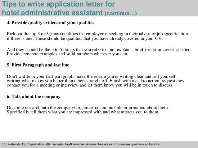 Hotel administrative assistant application letter