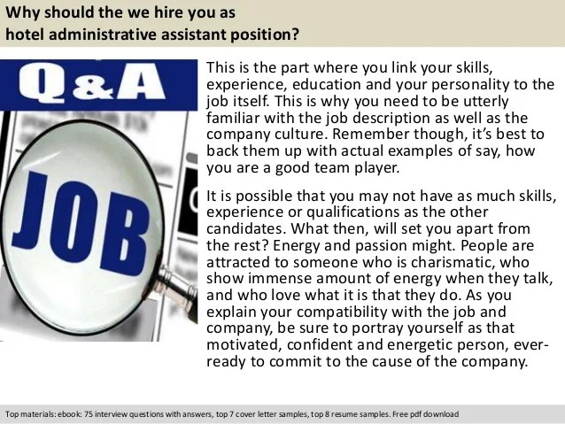 Hotel administrative assistant interview questions
