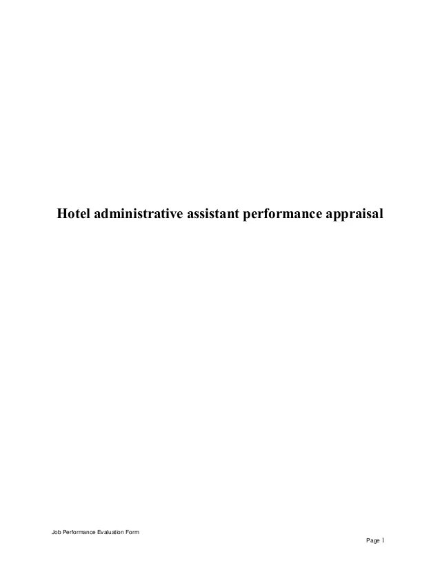Hotel administrative assistant performance appraisal