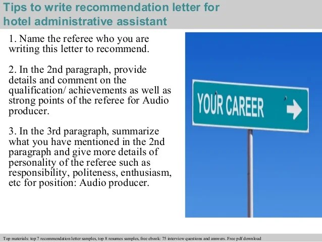 Hotel administrative assistant recommendation letter