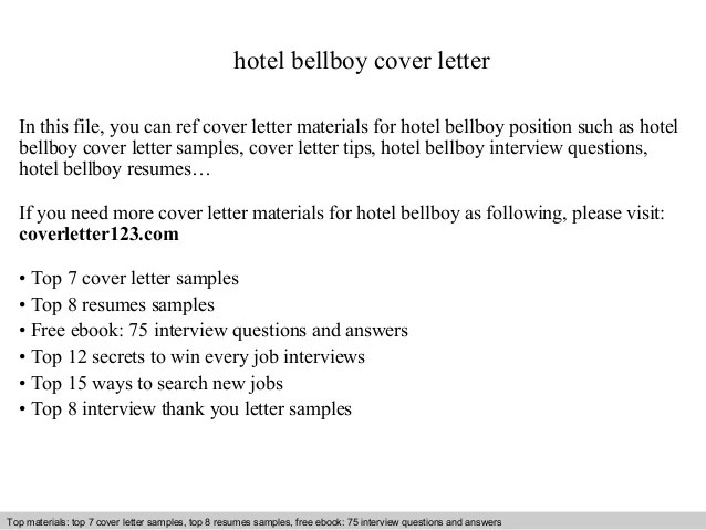 Hotel bellboy cover letter