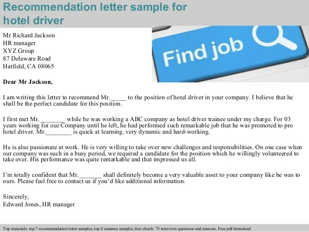 Hotel driver recommendation letter