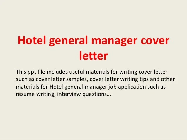 resume cover letter hotel general manager