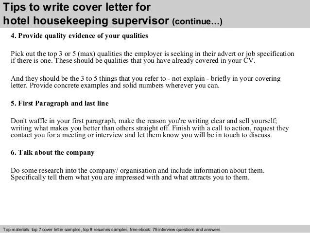 Hotel housekeeping supervisor cover letter