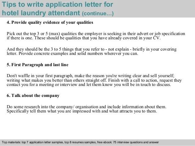 Hotel laundry attendant application letter