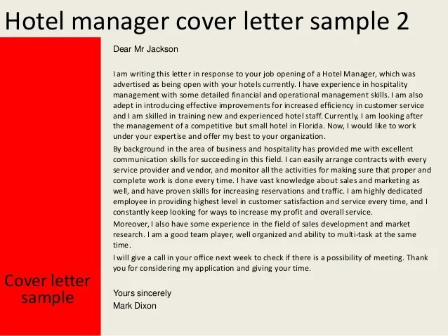 Hotel manager cover letter