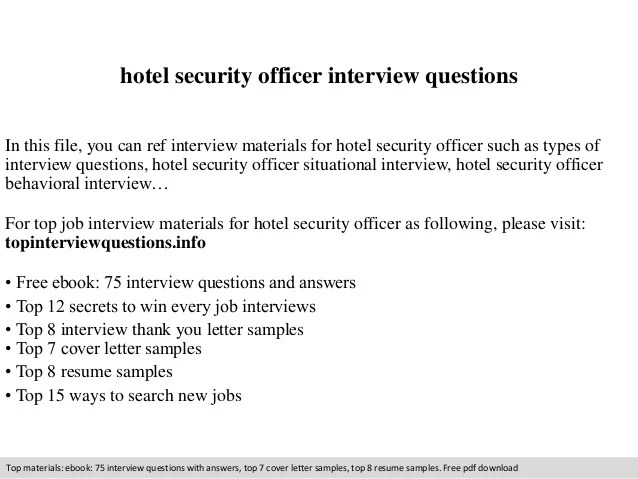 Hotel Security Officer Interview Questions