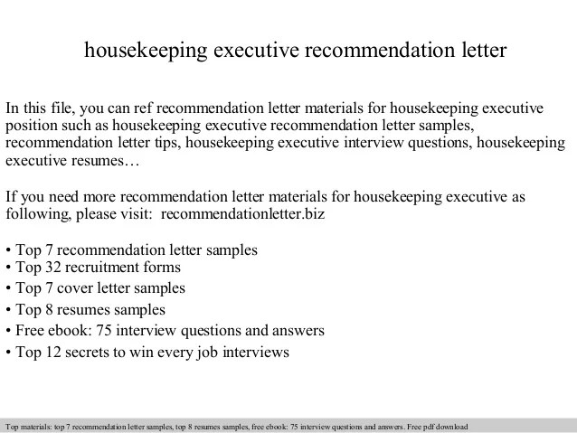 Housekeeping Executive Recommendation Letter