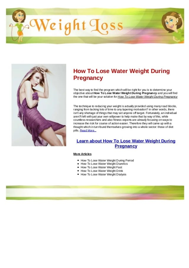 How to lose water weight during pregnancy