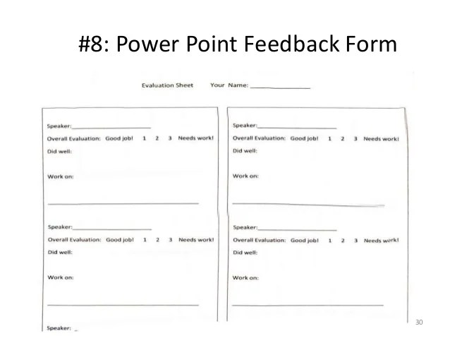 Speaker Feedback Form Sample Observation Feedback Form Examples In