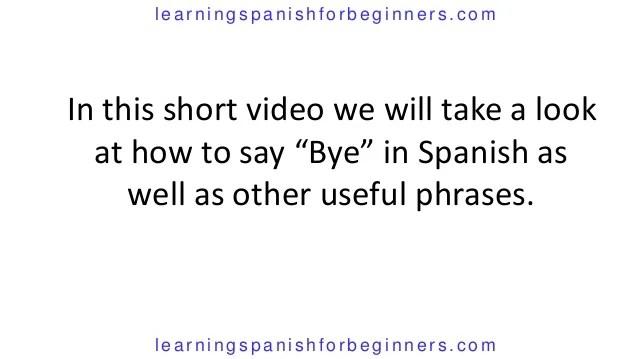 How Say Short Spanish