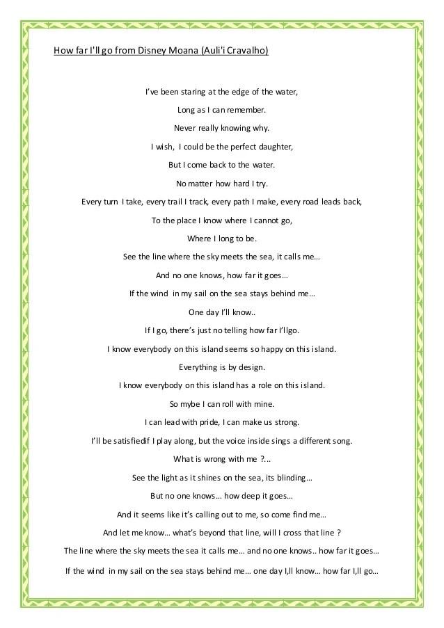 Alessia Cara:How Far I'll Go Lyrics | LyricWiki | Fandom