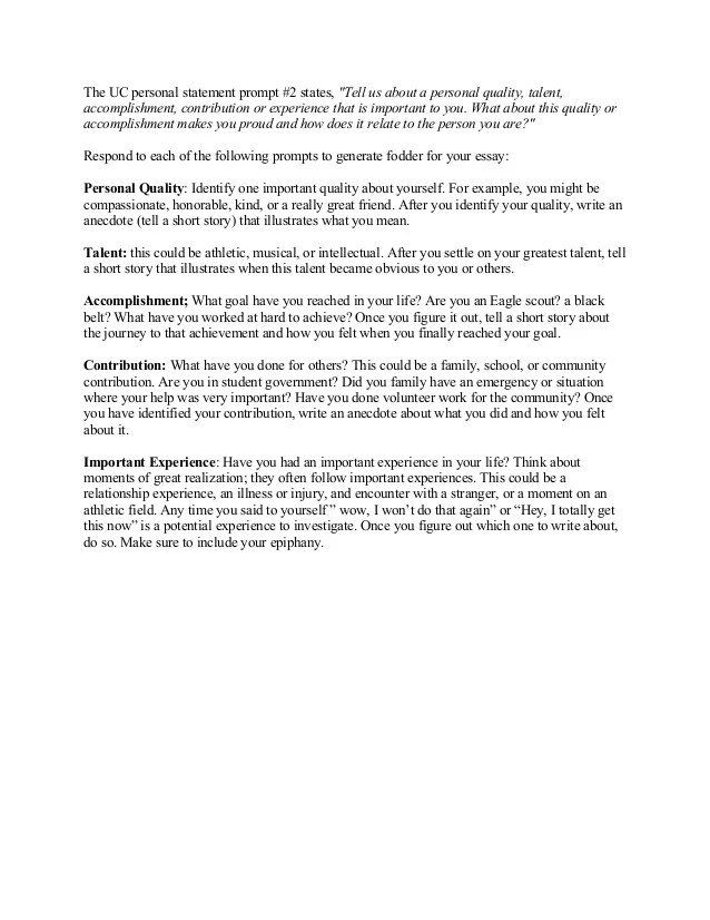 How to begin the uc personal statement prompt 2