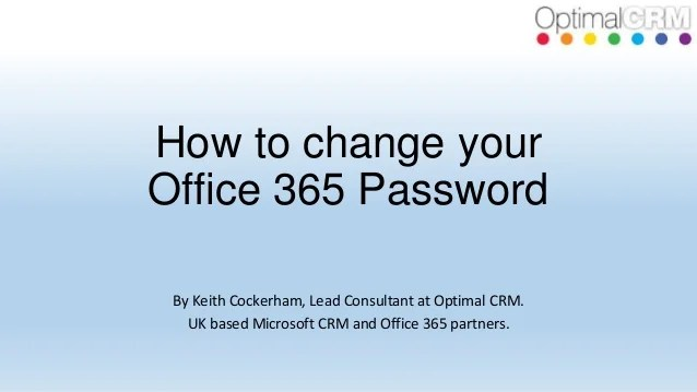 How to change your Office 365 Password