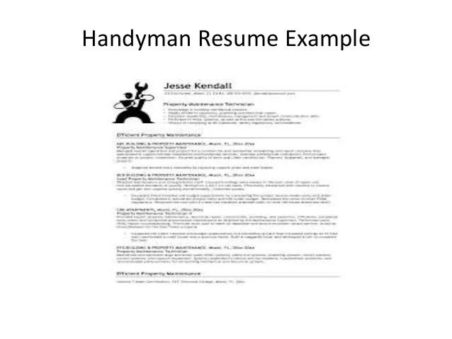 example of handyman resume