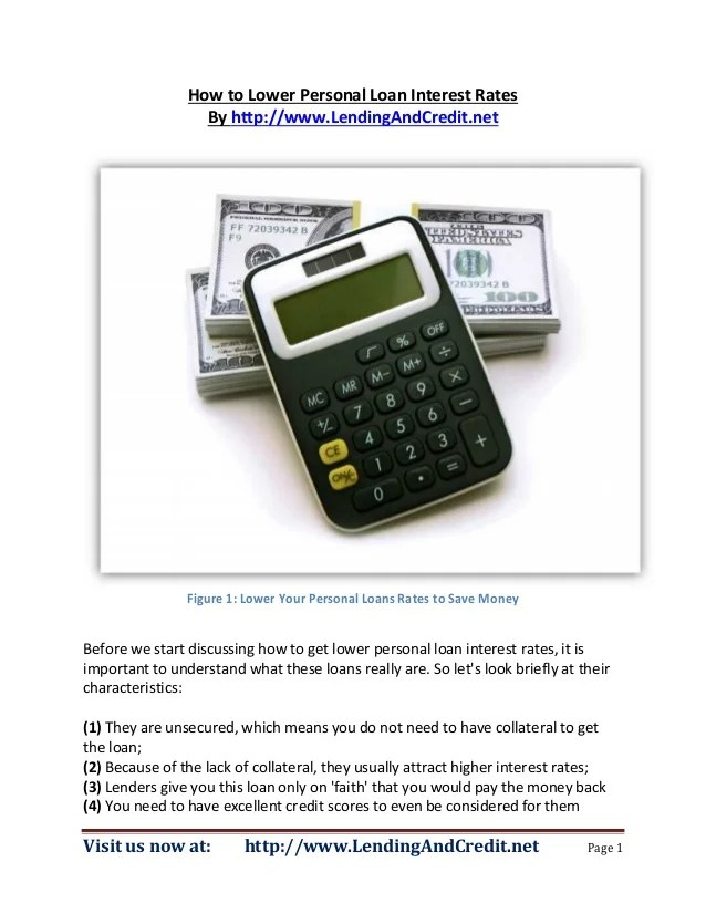 How to Lower Personal Loan Interest Rates