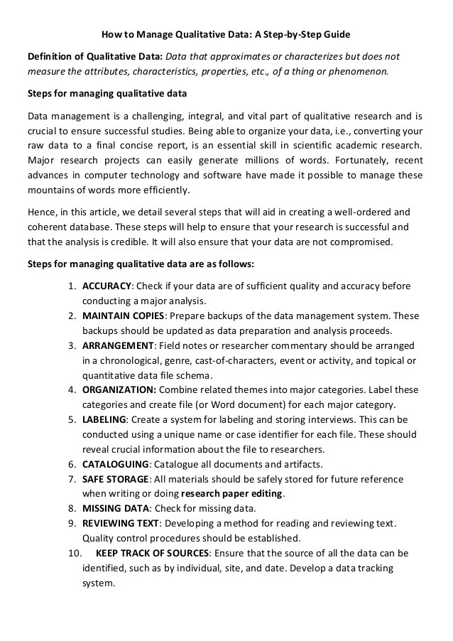 How To Manage Qualitative Data A Step By Step Guide