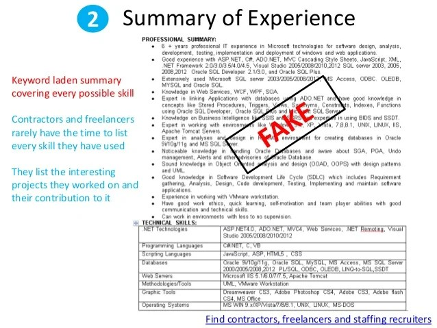 resume fake work experience