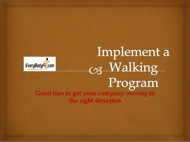 How to start a walking program