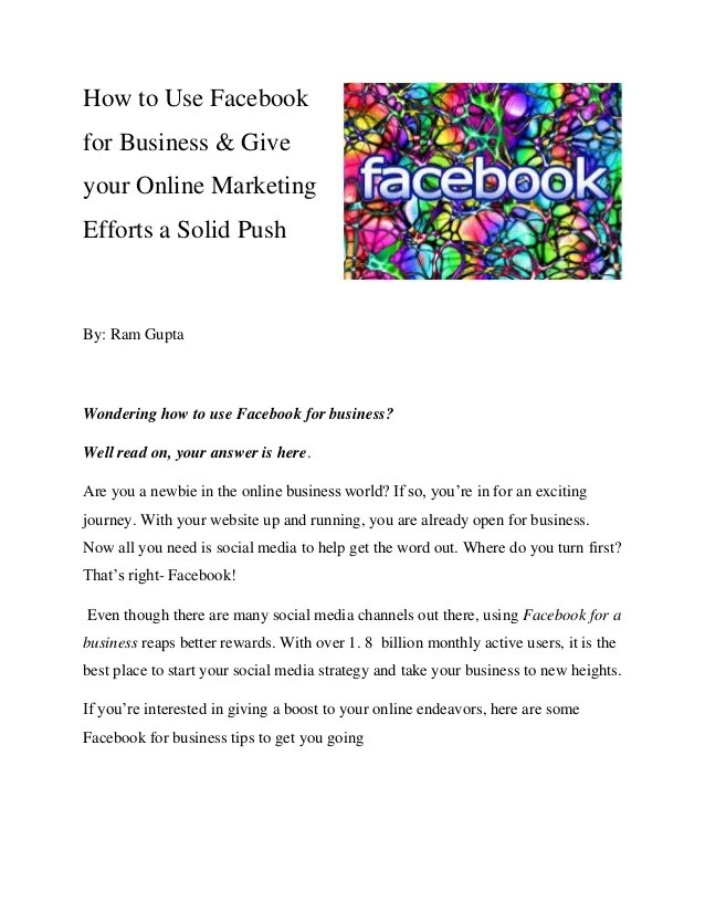 How To Use Facebook For Business Give Your Online