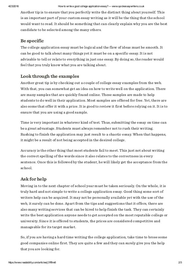 How to write a good college application essay  wwwquickessaywriter