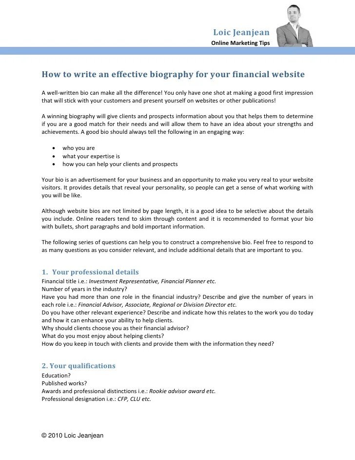 How To Write An Effective Biography For Your Financial Website