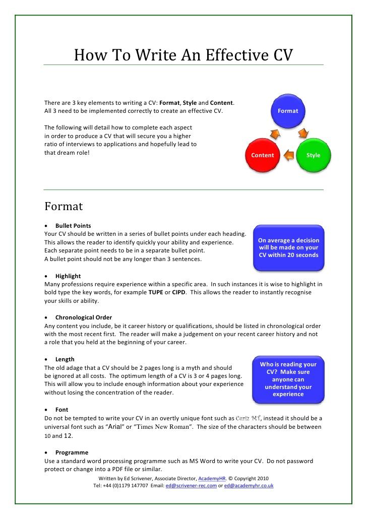 How To Write An Effective CV