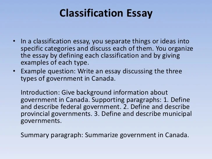 Example Of Classification Essays Hospi Noiseworks Co