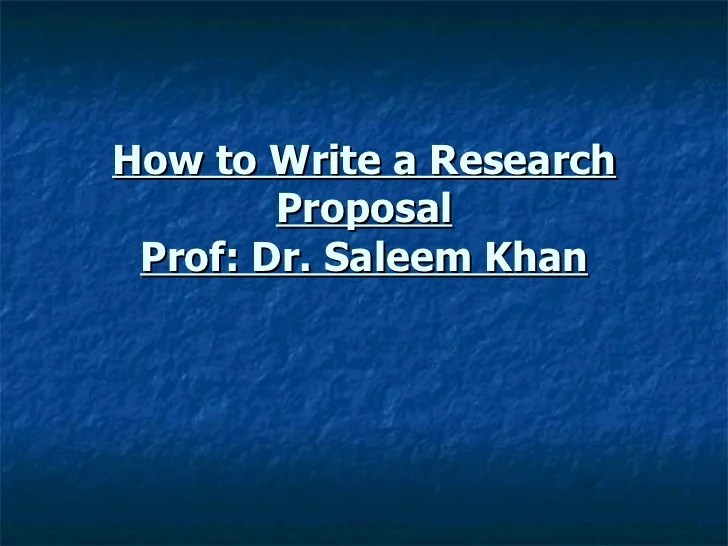 How to write research proposal1