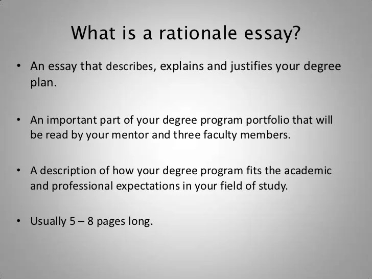 Rationale Essay How To Write The Rationale Essay Essay Samples