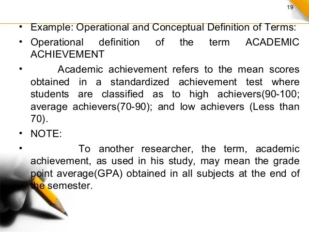 Written Example Of Operational Definition For A Research Paper