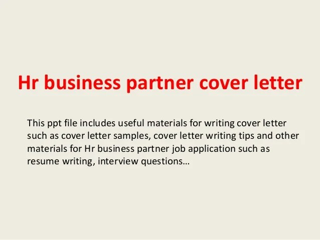 Hr Business Partner Cover Letter