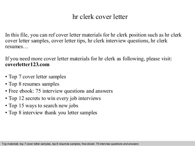 Hr clerk cover letter