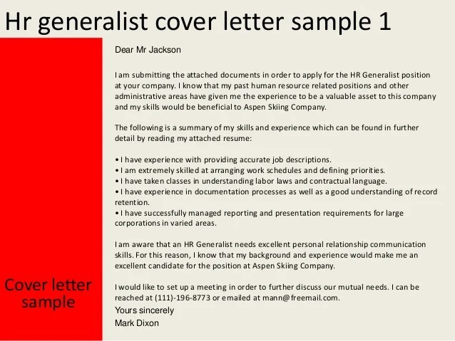 hr cover letter examples