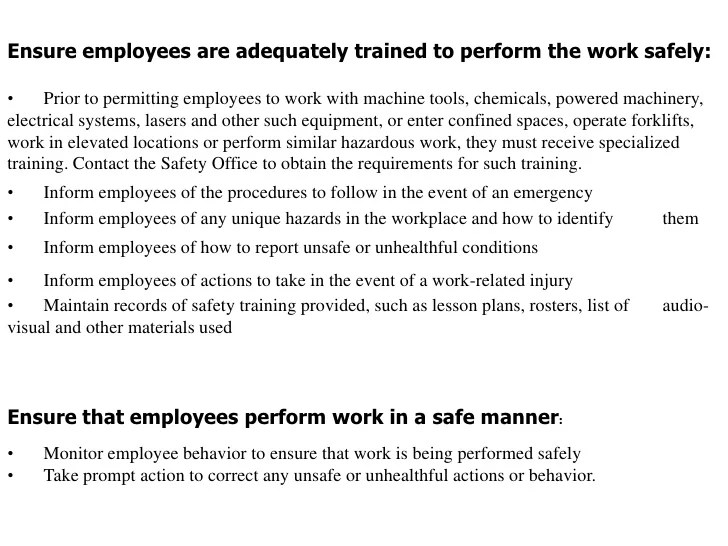 Unhealthful And Unsafe Work Conditions