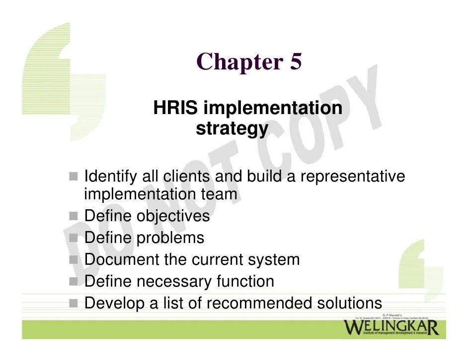 Human Resource Information System HRIS  Implementation and Control