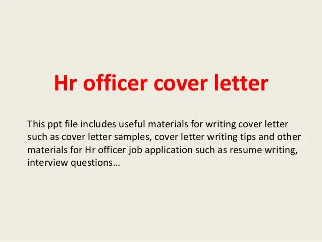 Cover Letter For Human Resources Officer Position | Sample ...