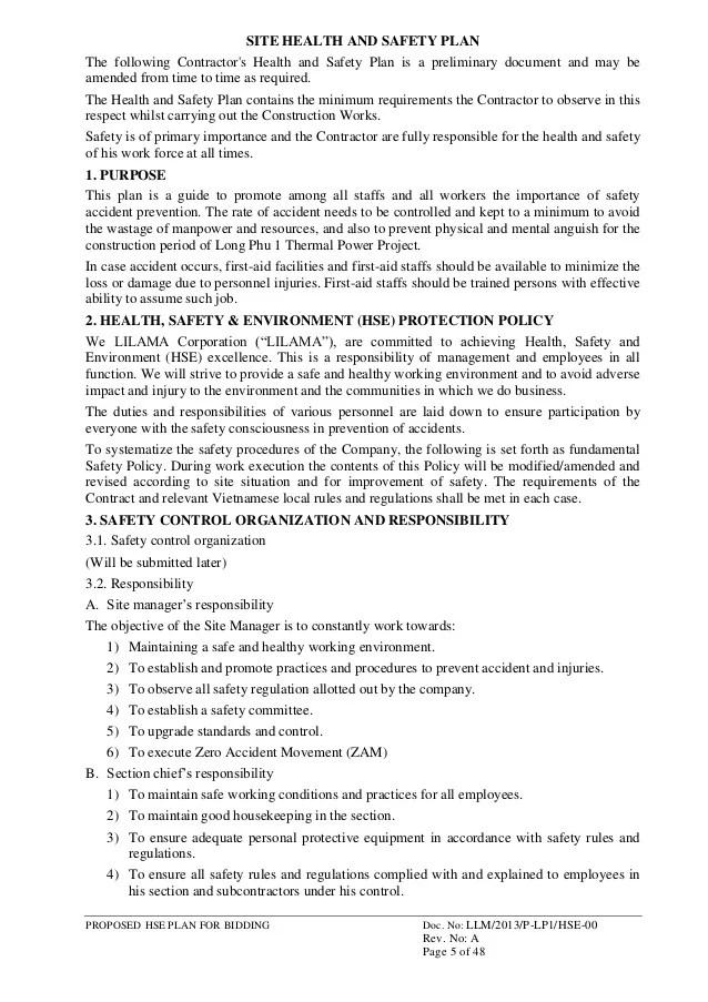 HSE Management Plan