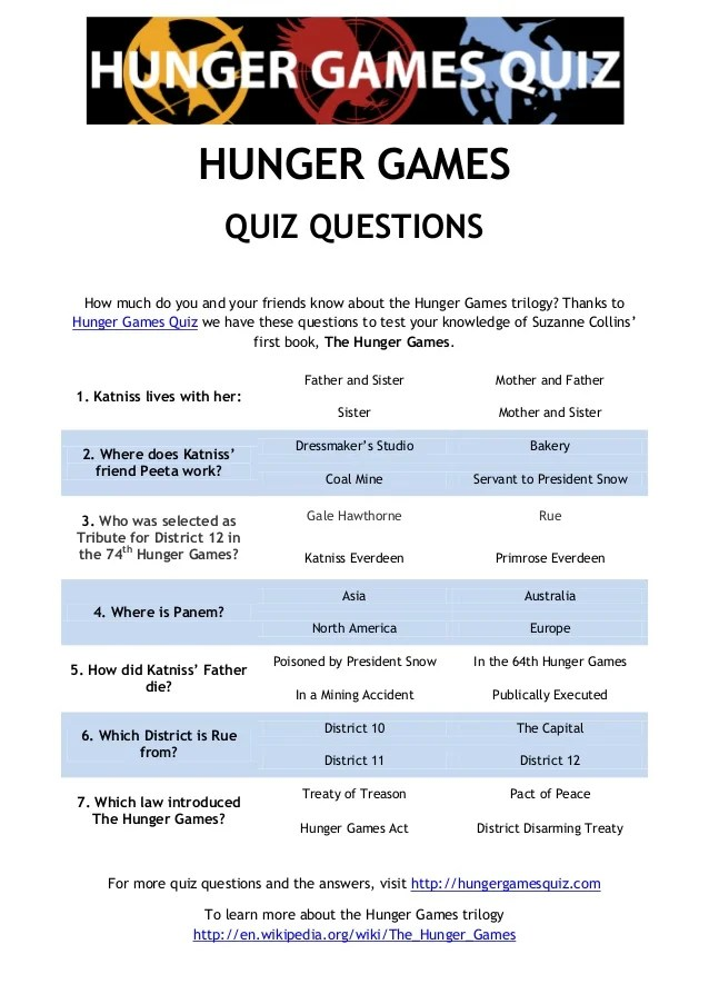 Hunger Games Quiz Questions
