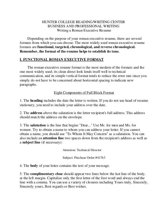 Roman Executive Resume Format Template | Sample Customer ...