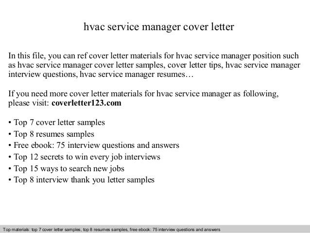 Hvac Service Manager Cover Letter