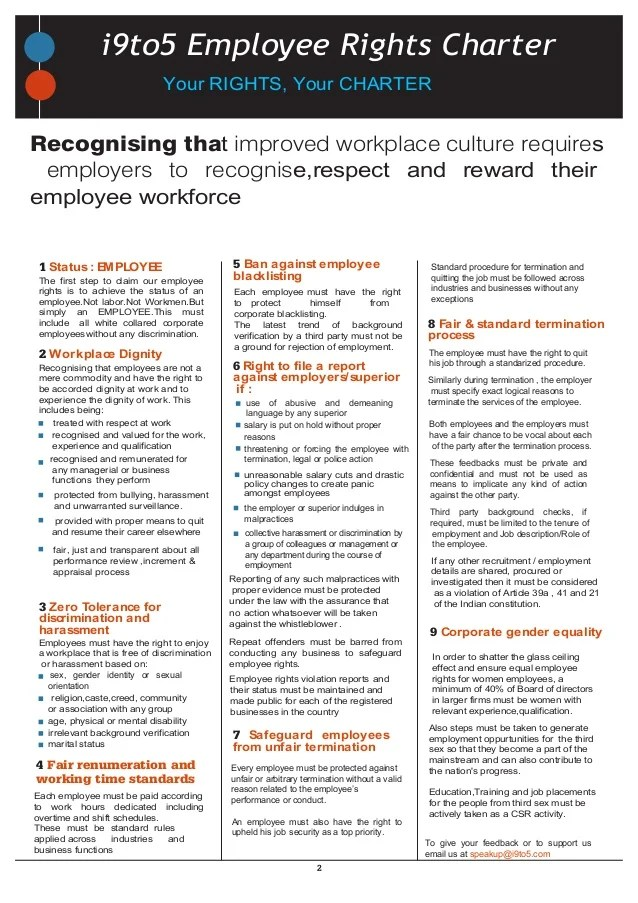 to employee rights charter your recognising that improved workplace culture requires employers also right rh slideshare