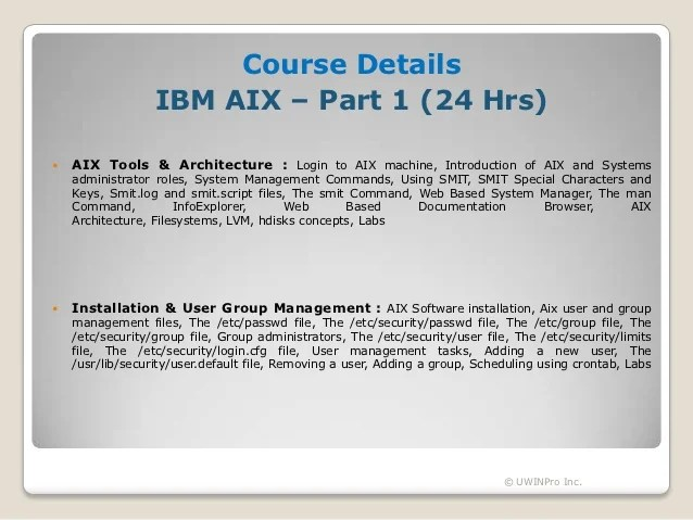 IBM AIX System Administration  Course