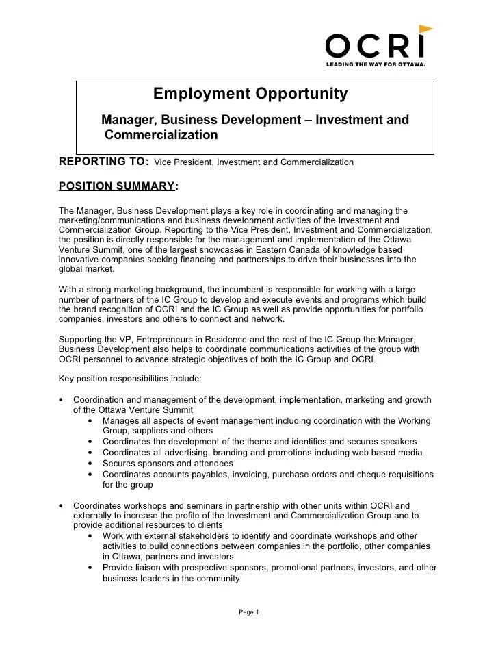 Icg Manager Business Development Job Description