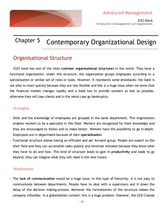 Inclusive growth advanced management icici bank introduction to and organisations organisational structure also of rh slideshare