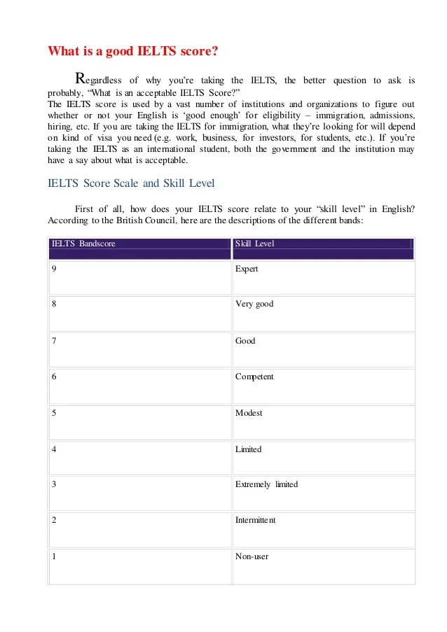 according to the british council also ielts scoring rh slideshare