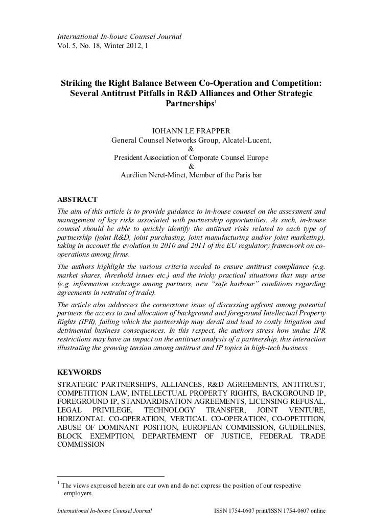 CoOperation and Competition Antitrust Pitfalls in RD Alliances and